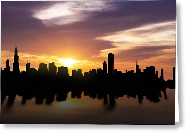Field Mixed Media Greeting Cards - Chicago Sunset Skyline  Greeting Card by Aged Pixel