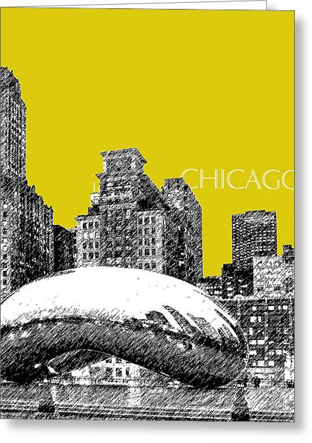 Pen Digital Greeting Cards - Chicago The Bean - Mustard Greeting Card by DB Artist