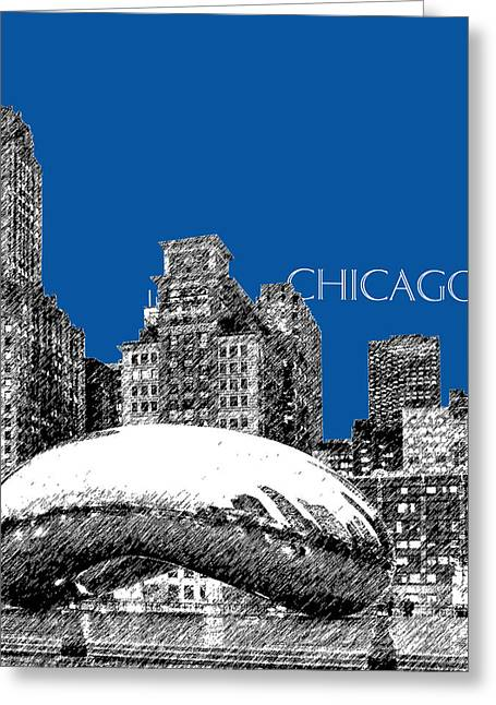 Chicago Skyline Art Greeting Cards - Chicago The Bean - Royal Blue Greeting Card by DB Artist