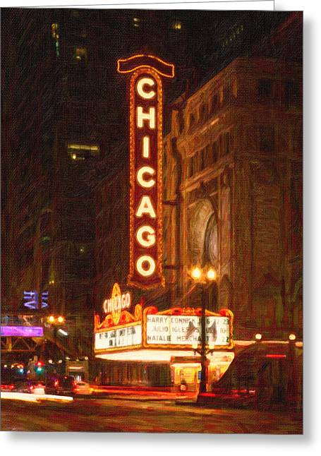 Windy City Mixed Media Greeting Cards - Chicago Theater Greeting Card by Celestial Images