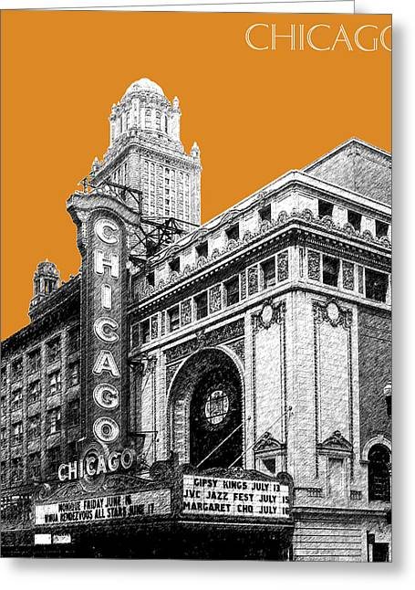 City Buildings Digital Greeting Cards - Chicago Theater - Dark Orange Greeting Card by DB Artist