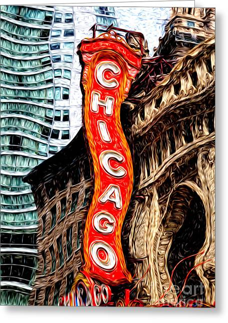 Signed Digital Art Greeting Cards - Chicago Theater Sign Digital Painting Greeting Card by Paul Velgos