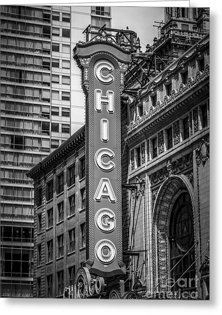 Theatre Photographs Greeting Cards - Chicago Theater Sign in Black and White Greeting Card by Paul Velgos