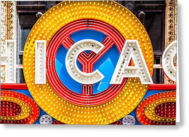 Theater Greeting Cards - Chicago Theater Sign Panorama Photo Greeting Card by Paul Velgos