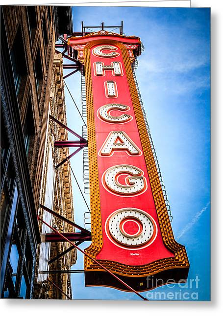 Historical Pictures Greeting Cards - Chicago Theater Sign Picture Greeting Card by Paul Velgos