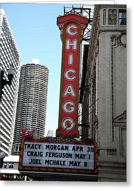Facades Mixed Media Greeting Cards - Chicago Theater with Watercolor Effect Greeting Card by Frank Romeo