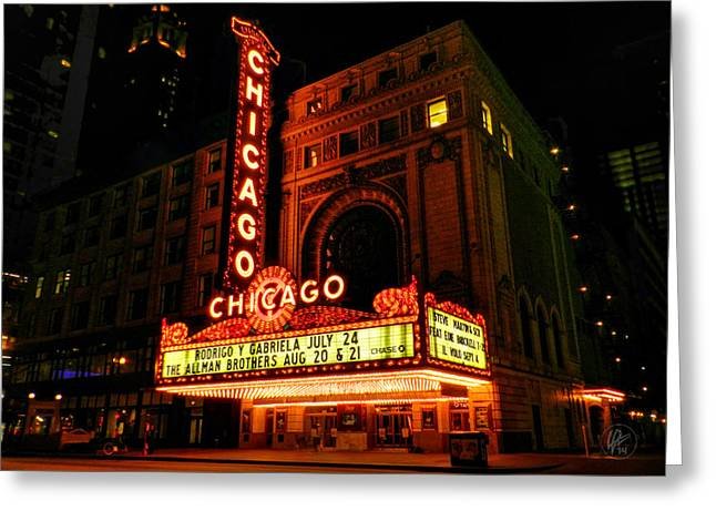 Brickell Greeting Cards - Chicago Theatre 001 Greeting Card by Lance Vaughn