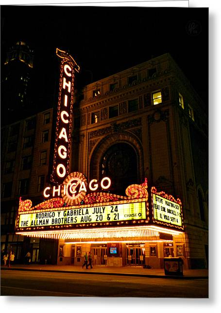 Brickell Greeting Cards - Chicago Theatre 002 Greeting Card by Lance Vaughn