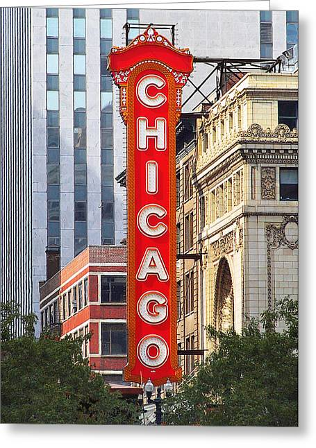 Close Ups Greeting Cards - Chicago Theatre - A classic Chicago landmark Greeting Card by Christine Till