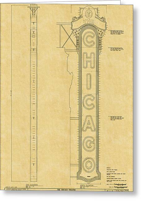 Historic Buildings Drawings Greeting Cards - Chicago Theatre Blueprint Greeting Card by Andrew Fare