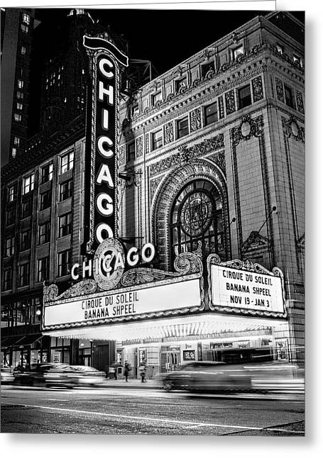 Theater Greeting Cards - Chicago Theatre Marquee Sign at Night Black and White Greeting Card by Christopher Arndt