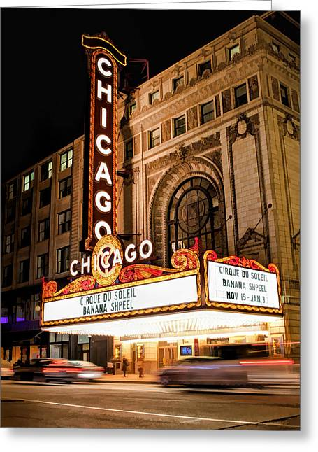 Christopher Arndt Greeting Cards - Chicago Theatre Marquee Sign at Night Greeting Card by Christopher Arndt