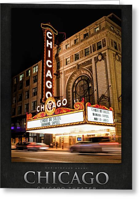 Built Greeting Cards - Chicago Theatre Marquee Sign at Night Poster Greeting Card by Christopher Arndt