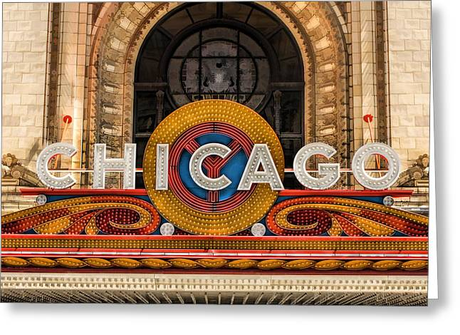 Recently Sold -  - Theater Greeting Cards - Chicago Theatre Marquee Sign Greeting Card by Christopher Arndt