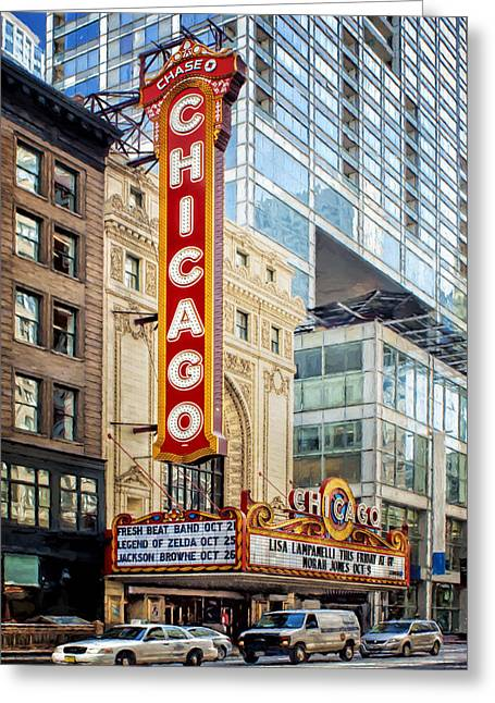 Downtown Area Pictures Greeting Cards - Chicago Theatre Greeting Card by Nikolyn McDonald