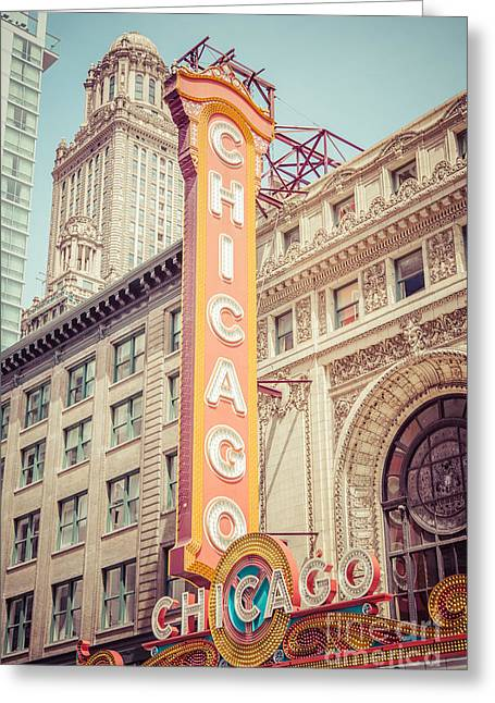 Editorial Greeting Cards - Chicago Theatre Retro Vintage Picture Greeting Card by Paul Velgos