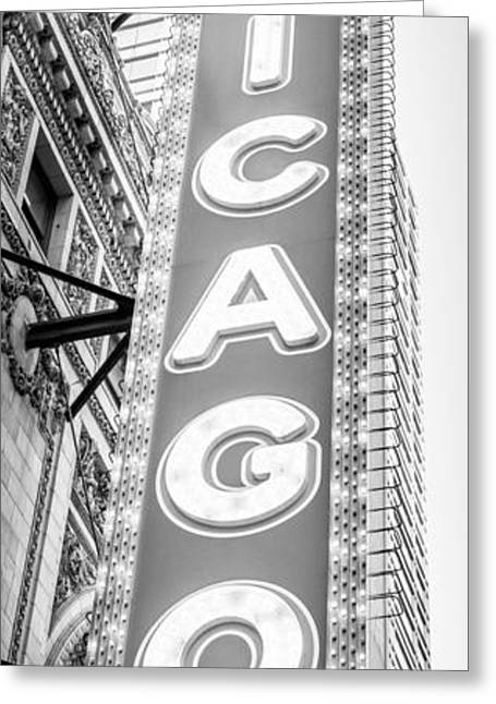 Theatre Photographs Greeting Cards - Chicago Theatre Sign Black and White Panorama Greeting Card by Paul Velgos