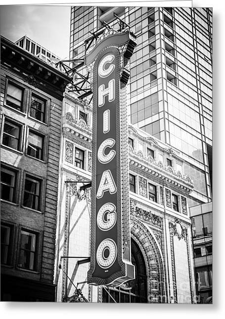 Venue Greeting Cards - Chicago Theatre Sign Black and White Picture Greeting Card by Paul Velgos