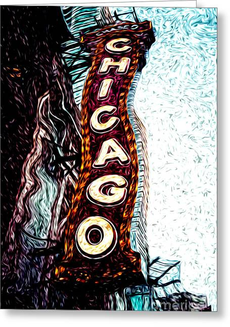 Venue Greeting Cards - Chicago Theatre Sign Digital Art Greeting Card by Paul Velgos