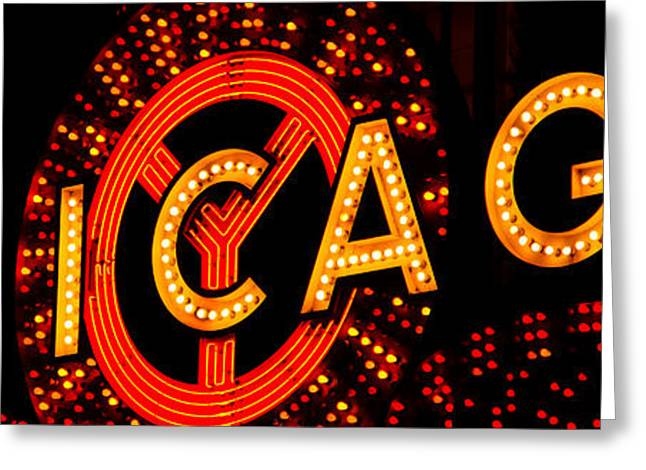 Theater Greeting Cards - Chicago Theatre Sign Panorama Photo at Night Greeting Card by Paul Velgos