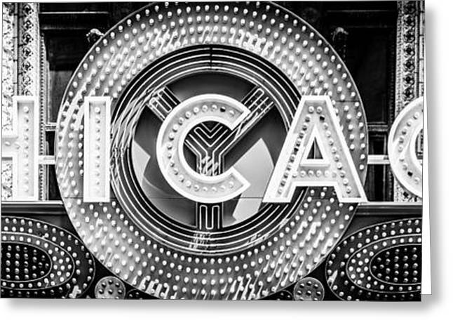 Theater Greeting Cards - Chicago Theatre Sign Panorama Photo in Black and White Greeting Card by Paul Velgos