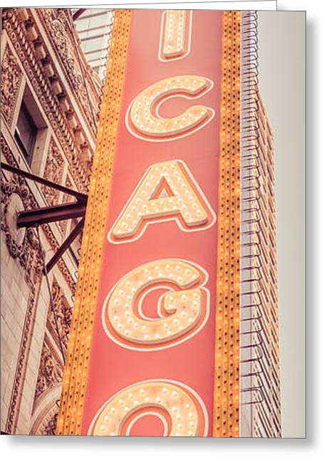 Treatment Greeting Cards - Chicago Theatre Sign Vertical Panorama Picture Greeting Card by Paul Velgos