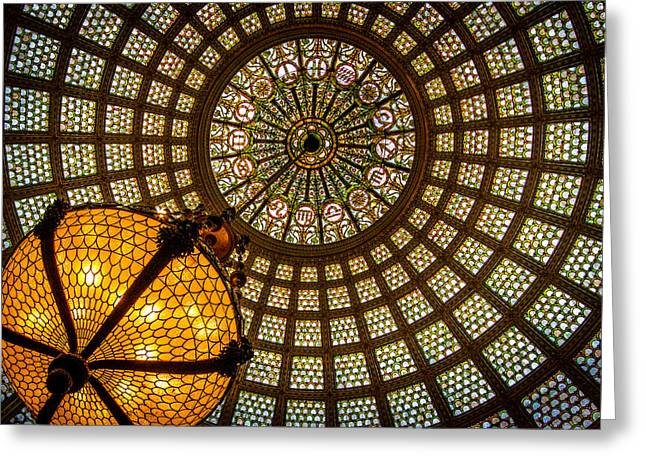 Glass Work Greeting Cards - Chicago Tiffany Dome Greeting Card by Mike Burgquist