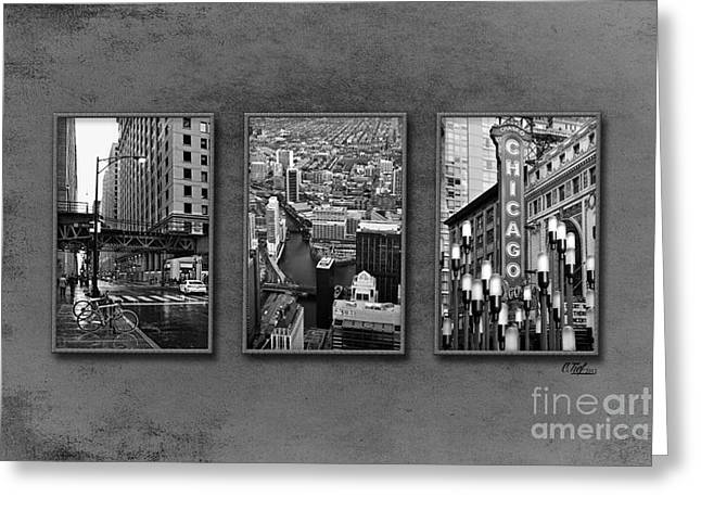 Streetlight Greeting Cards - Chicago Times Three Greeting Card by Cindy Tiefenbrunn