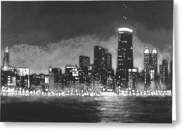 Wrigley Field At Night Greeting Cards - Chicago Tonight - Black and White Skyline Greeting Card by Joseph Catanzaro
