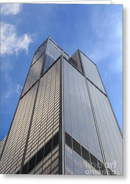 Mid-century Look Greeting Cards - Willis Tower Greeting Card by Jannis Werner