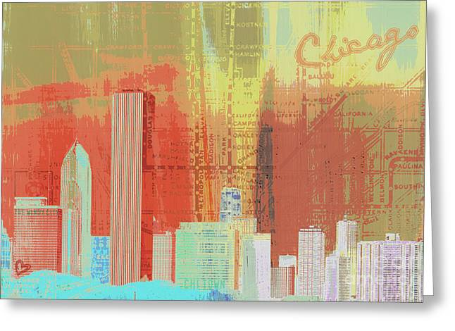Windy City Mixed Media Greeting Cards - Chicago Town Greeting Card by Brandi Fitzgerald