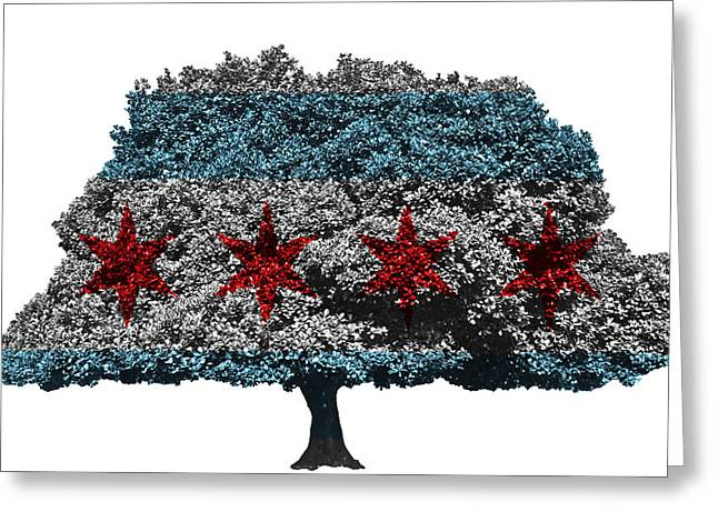 Chicago Flag Mixed Media Greeting Cards - Chicago tree Greeting Card by Image World