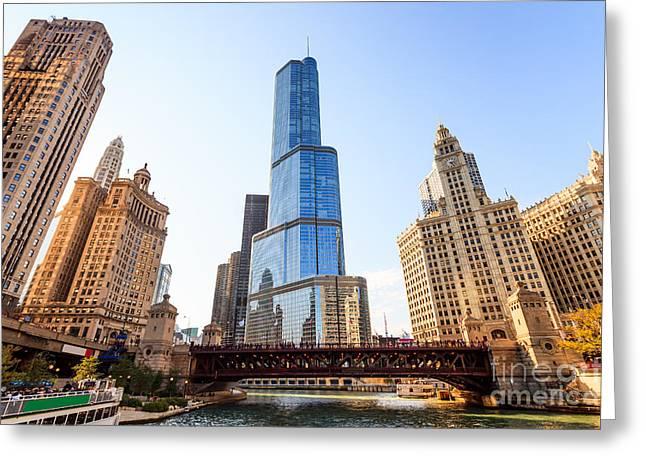 Michigan Avenue Greeting Cards - Chicago Trump Tower At Michigan Avenue Bridge Greeting Card by Paul Velgos