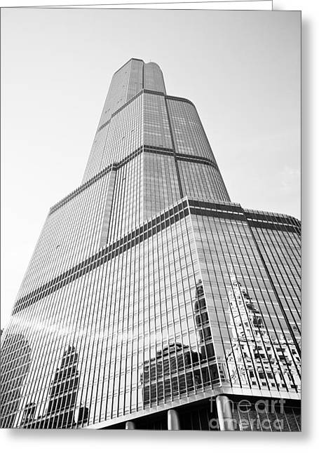 In-city Greeting Cards - Chicago Trump Tower in Black and White Greeting Card by Paul Velgos
