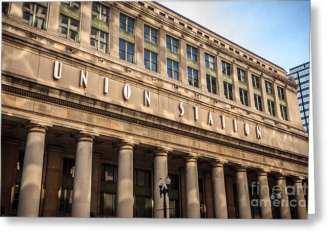 Chicago Union Station Building And Sign Greeting Card by Paul Velgos
