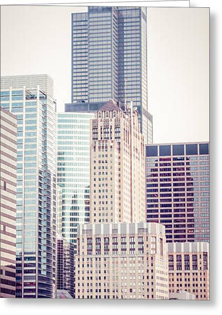 Chicago Prints Greeting Cards - Chicago Vertical Panorama of Sears Willis Tower Greeting Card by Paul Velgos