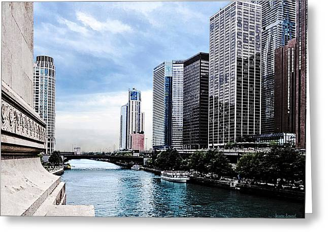 Chicago - View From Michigan Avenue Bridge Greeting Card by Susan Savad