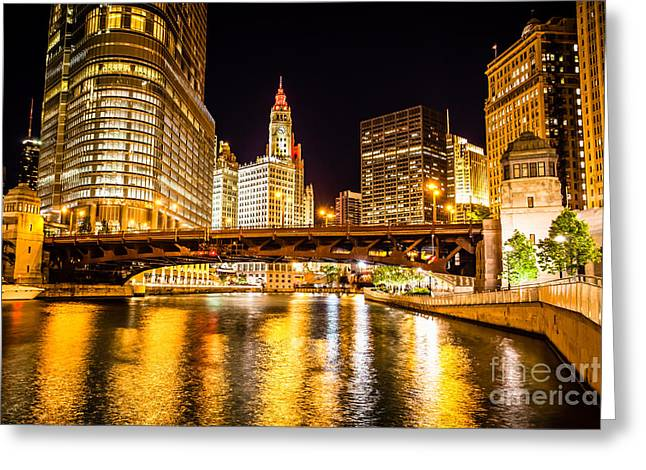 Riverfront Greeting Cards - Chicago Wabash Avenue Bridge at Night Picture Greeting Card by Paul Velgos