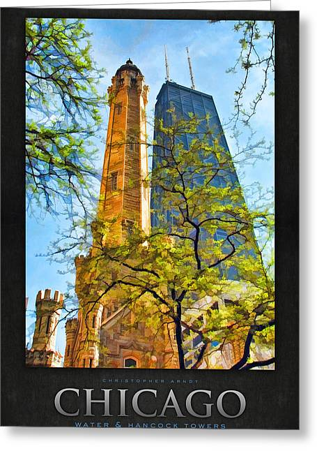 Water Tower Greeting Cards - Chicago Water and Hancock Towers Poster Greeting Card by Christopher Arndt