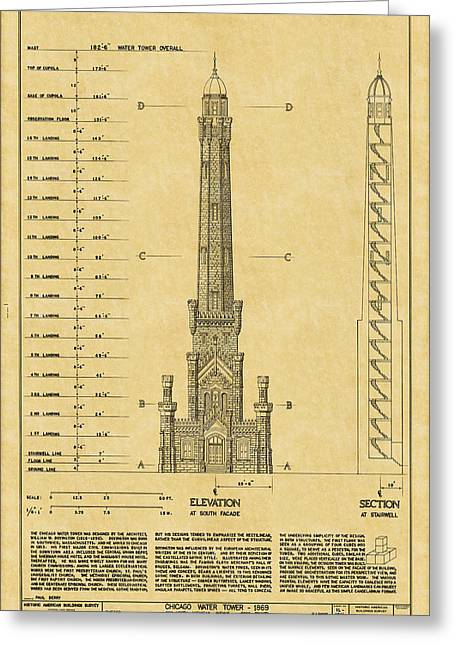Chicago Water Tower Greeting Card by Andrew Fare