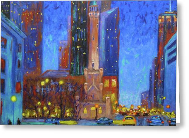 Chicago Water Tower At Night Greeting Card by J Loren Reedy