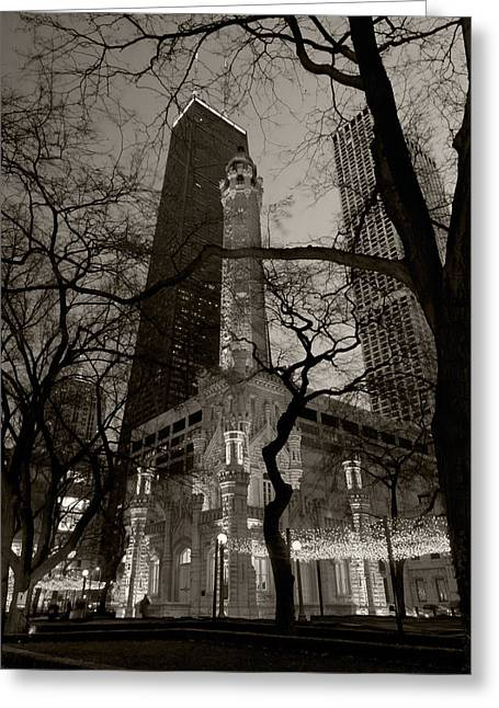 Illuminated Greeting Cards - Chicago Water Tower B W Greeting Card by Steve Gadomski