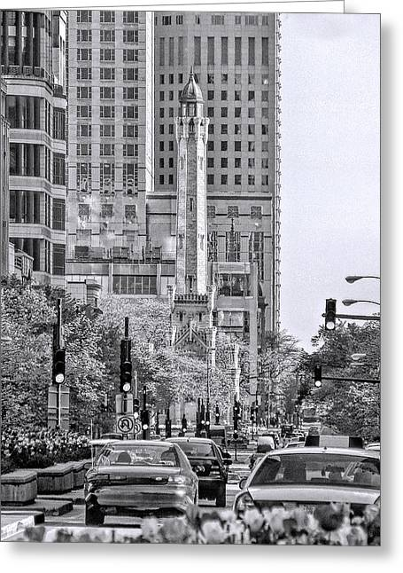 Water Tower Greeting Cards - Chicago Water Tower Beacon Black and White Greeting Card by Christopher Arndt