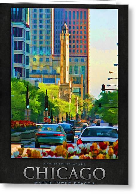 Water Tower Greeting Cards - Chicago Water Tower Beacon Poster Greeting Card by Christopher Arndt