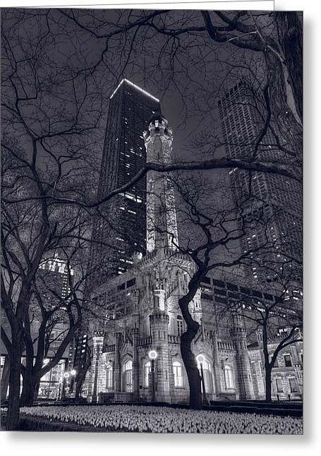 Water Tower Greeting Cards - Chicago Water Tower Dusk B W Greeting Card by Steve Gadomski