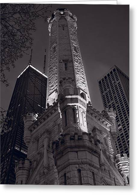 Historic Architecture Photographs Greeting Cards - Chicago Water Tower Panorama B W Greeting Card by Steve Gadomski
