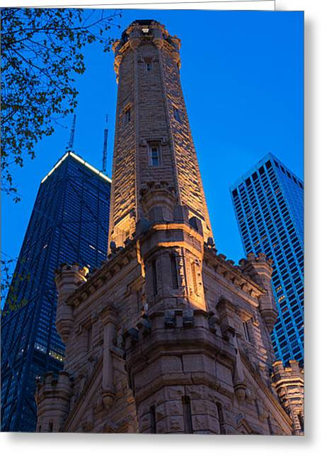 Water Tower Greeting Cards - Chicago Water Tower Panorama Greeting Card by Steve Gadomski
