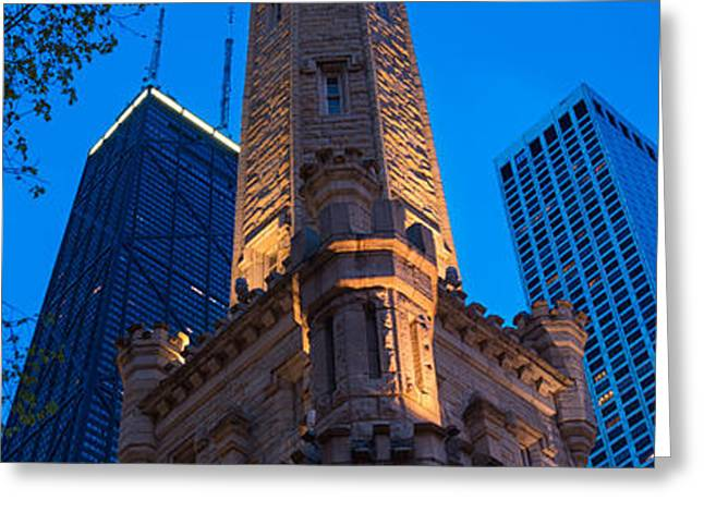 Chicago Water Tower Panorama Greeting Card by Steve Gadomski