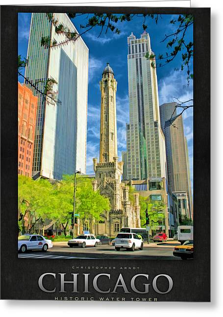 Landmark Posters Greeting Cards - Chicago Water Tower Shopping Poster Greeting Card by Christopher Arndt
