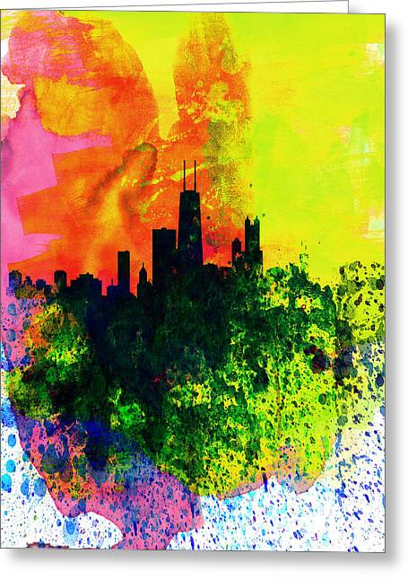 Landscape. Scenic Digital Art Greeting Cards - Chicago Watercolor Skyline Greeting Card by Naxart Studio